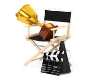 Director Chair, Movie Clapper and Megaphone with Golden Trophy. Director Chair, Movie Clapper and Megaphone with Golden Trophy on a white background. 3d Royalty Free Stock Photo