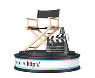 Director Chair, Movie Clapper and Megaphone over Browser Address. Bar as Round Platform Pedestal on a white background. 3d Rendering Stock Photography