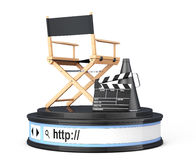 Director Chair, Movie Clapper and Megaphone over Browser Address. Bar as Round Platform Pedestal on a white background. 3d Rendering Stock Photos