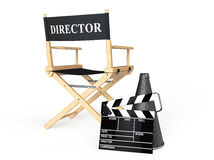 Director Chair, Movie Clapper and Megaphone. On a white background Royalty Free Stock Photos
