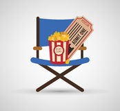 Director chair pop corn ticket cinema. Illustration eps 10 Royalty Free Stock Photography