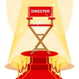 Director chair on red carpet. Red film directors chair with on luxurious catwalk with red carpet. Flat vector cartoon illustration. Objects isolated on a white Royalty Free Stock Photos