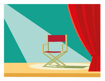 Director chair. And red curtain Royalty Free Stock Image