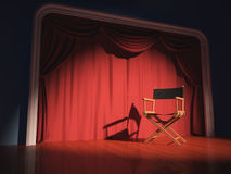 Director Chair. Director's chair on the stage illuminated by floodlights Royalty Free Stock Photo