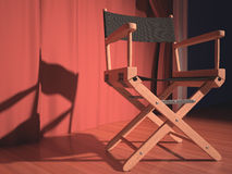 Director Chair. Director's chair on the stage illuminated by floodlights Stock Images