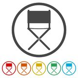 Director chair - vector icon, 6 Colors Included. Simple vector icons set Stock Image