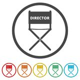 Director chair - vector icon, 6 Colors Included. Simple vector icons set Stock Images