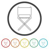 Director chair - vector icon, 6 Colors Included. Simple vector icons set Royalty Free Stock Photo