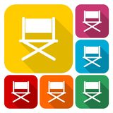 Director chair - vector icons set with long shadow. Vector icon Stock Photos