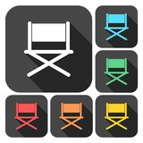 Director chair - vector icons set with long shadow. Vector icon Stock Photo