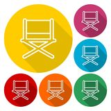 Director chair - vector icons set with long shadow. Vector icon Royalty Free Stock Images