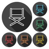 Director chair - vector icons set with long shadow. Vector icon Royalty Free Stock Photography