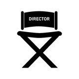 Director chair , Vector illustration over white background. Black director chair with white letters on top  illustration isolated over white Stock Photography