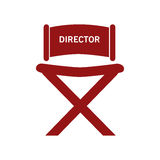 Director chair , Vector illustration over white background. Red director chair with letters isolated over white Royalty Free Stock Photo