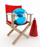Director chair and world concept Stock Photo
