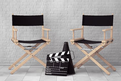 Director Chairs, Movie Clapper and Megaphone. 3d Rendering Royalty Free Stock Photos