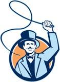 Director de pista de circo Whip Circle Retro del cabecilla Fotografía de archivo