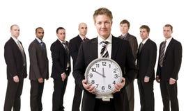 Director empresarial na frente de sua equipe Imagens de Stock