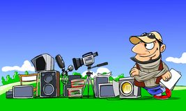 Director with equipment. Cartoon illustration. Movie director with equipment for filming vector illustration