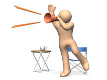 The director has orders. The director has orders in a loud voice to the people. This is a computer generated image,on white background Stock Images