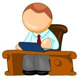 Director icon. Director-general sitting at his workplace. Illustration isolated over white background royalty free illustration