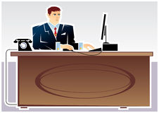 Director illustration. Manager at work. Vector illustration Royalty Free Stock Images