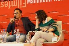 Director Kazim Öz and production assistant Ilknur Billir r at the Internationales Filmfestival Mannheim-Heidelberg 2017. Mannheim/Heidelberg, Deutschland Royalty Free Stock Photography