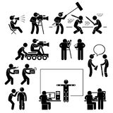 Director Making Filming Movie Production Actor. A set of pictograms representing film making scenario with the director, crews, and actors vector illustration