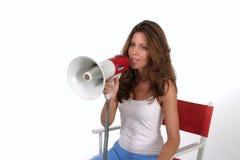 Director With Megaphone 3 de la mujer Fotos de archivo