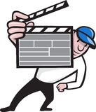 Director With Movie Clapboard Cartoon Royalty Free Stock Images
