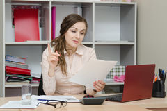 Director of reading an important document Stock Images