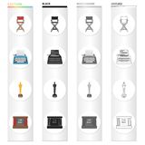 The director`s armchair, a typewriter, a film festival award, a screen in the cinema. Film and Cinema set collection. Icons in cartoon black monochrome outline Royalty Free Stock Image