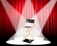 Director's chair. Image of director's chair under three spotlight Stock Photography