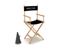 Director's chair. 3D rendering of a director's chair and a megaphone Stock Photos