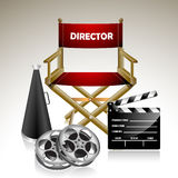 Director's Chair. Vector illustration representing director's chair and some of the basic equipment in directing the movie Royalty Free Stock Photography