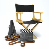 Director's Chair. Illustration of director's chair with clap board and megaphone Stock Photos