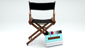 Director's Chair and Clapboard. A movie director's chair and clapboard Royalty Free Stock Photos