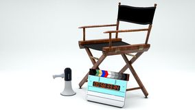 Director's Chair, Megaphone and Clapboard - Stock Image - Stock Image. A movie director's chair, megaphone and clapboard Stock Images