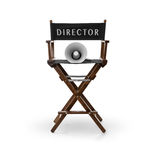 Director`s chair and megaphone stock photos