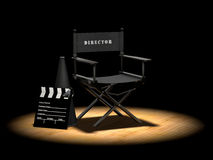 Director S Chair Under Spotlight Royalty Free Stock Images