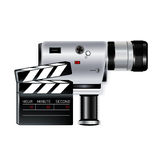 Director's clapper and camera recorder isolated Royalty Free Stock Photography