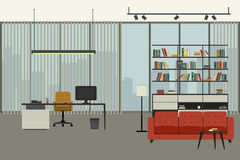 Director`s office interior. Director`s office in flat style with working place, bookshelf and lounge zone Royalty Free Stock Images