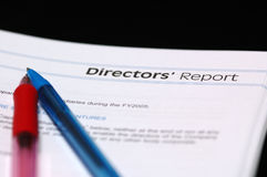 Director's Report. Annual Director's Report Stock Images