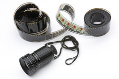 Viewfinder of director movie and film. Director's viewfinder and film on a white background stock photos