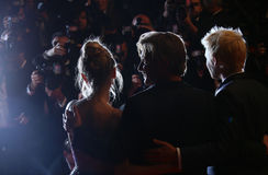 Director Sean Penn. His son Hopper Penn and daughter, Dylan Penn attend 'The Last Face' Premiere during the 69th Cannes Film Festival at the Palais on May 20 Stock Image