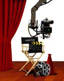 Director seat and movie making equipment royalty free stock photography