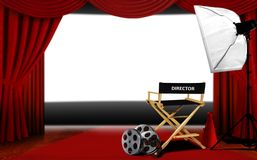 Director seats and cinema screen Royalty Free Stock Photography