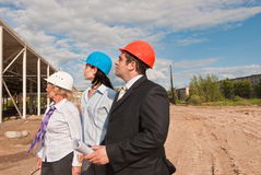 Director with subordinates on construction site Royalty Free Stock Photography