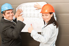 Director with subordinates on construction site Royalty Free Stock Photos
