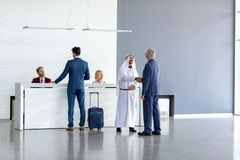 Warmly receiving of Arabian guest royalty free stock photography